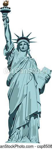 Vector Clipart of statue of Liberty - Statue of Liberty on a white ...