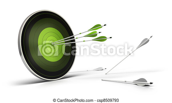 green target onto a white background with three arrows reaching their goal, and whites arrows on the floor failed to reach their objective. - csp8509793