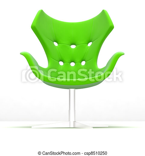 Stylish modern armchair from polished silver metal and a green material of a seat and a back - csp8510250