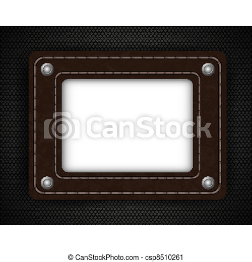 leather element on metal background with place for your text. Vector illustration - csp8510261