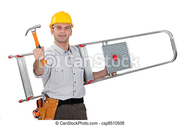 Artisan ladder slung over his shoulder - csp8510508