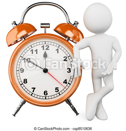 3D man with a huge alarm clock - csp8510636