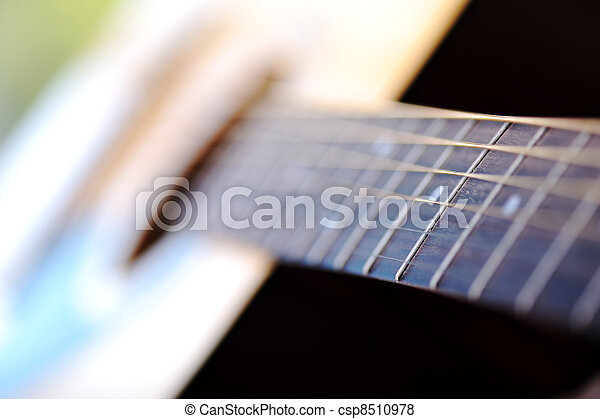 Detail of classic guitar with shallow depth of field - csp8510978