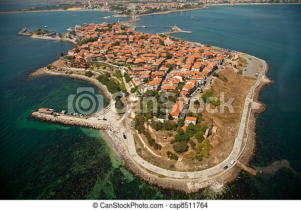 Old Nessebar, aerial view  - csp8511764