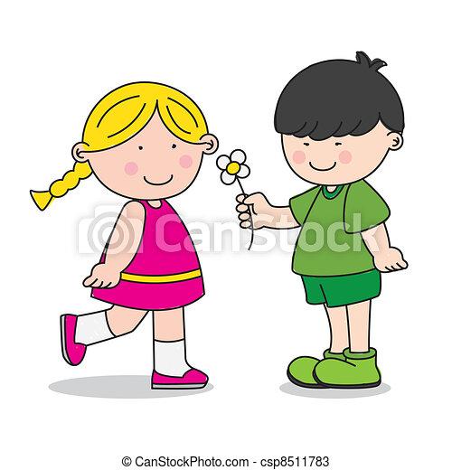 boy giving a girl a flower - csp8511783