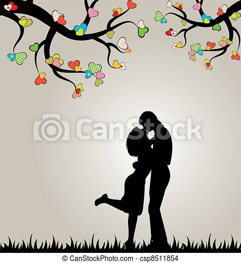 silhouette of lovers and hearts. - csp8511854