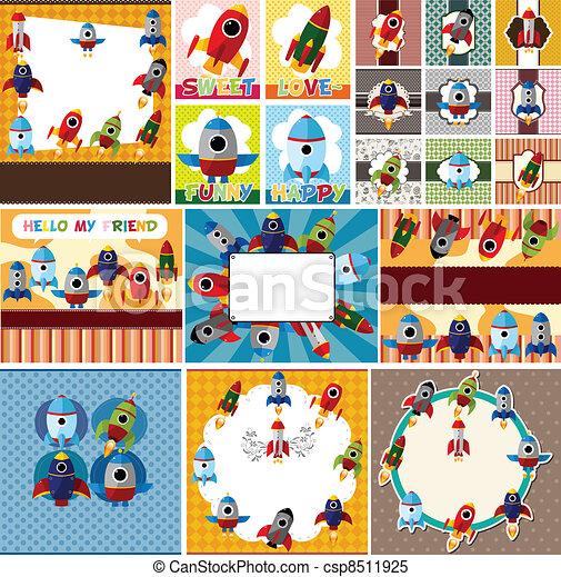 cartoon spaceship card - csp8511925
