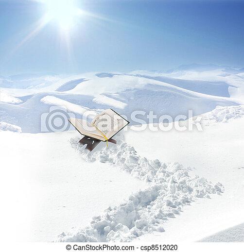 Koran at snow in mountain, concept - csp8512020