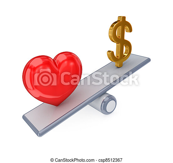 Red heart and dollar sign on simple scales.. - csp8512367