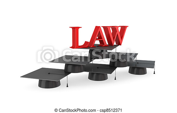 Word LAW on a pyramid made of lawyer's hats. - csp8512371