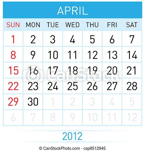 April Calendar - csp8512945