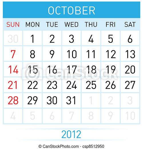 October Calendar - csp8512950