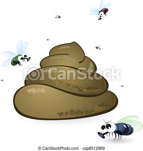 Cartoon feces and flies - csp8512969