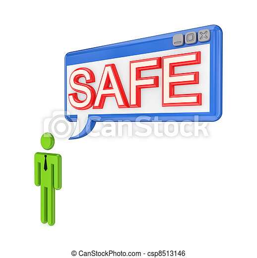 3d small person and OS window with word SAFE. - csp8513146