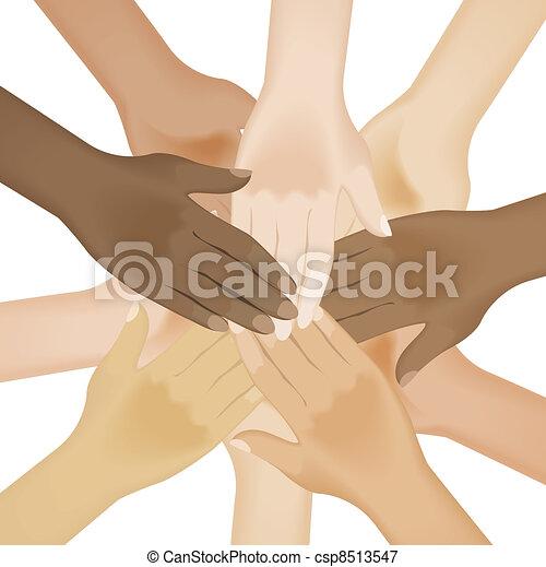 Multiracial human hands - csp8513547