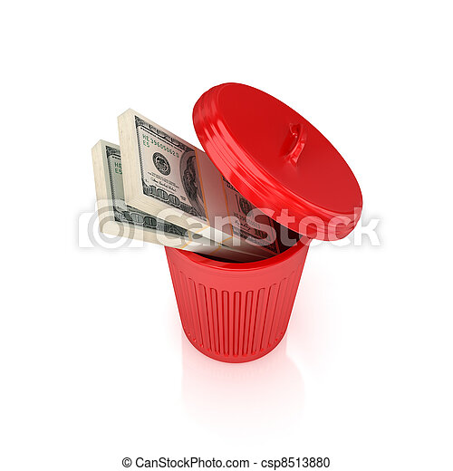 Dollar packs in a red recycle bin. - csp8513880