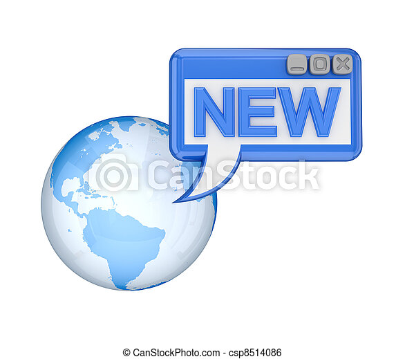 Earth, OS window with a word NEW. - csp8514086