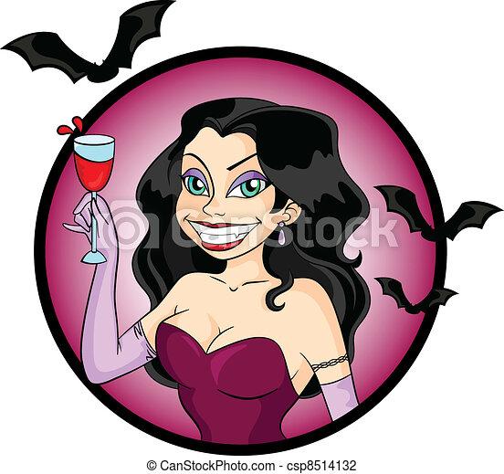 Vector Illustraie van dame, vampier - Aantrekkelijk ...