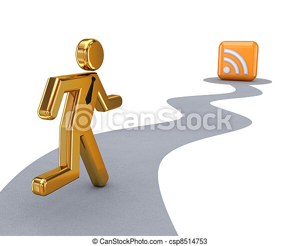 3d small person and RSS symbol. - csp8514753