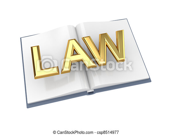 Opened book with golden word LAW. - csp8514977