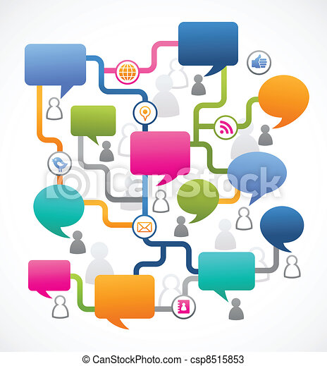Social media image, people with speech bubbles - csp8515853