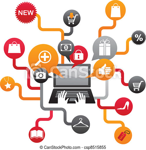 Internet shopping with set of icons - csp8515855