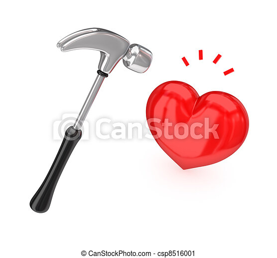 Big chromed hammer hitting a red heart. - csp8516001