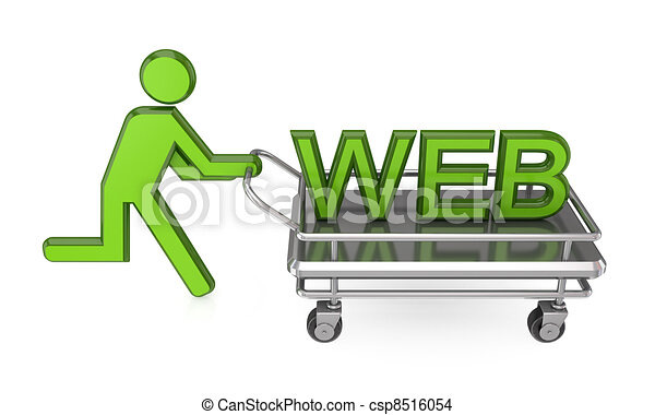 3d small person with a pushcart and big word WEB. - csp8516054