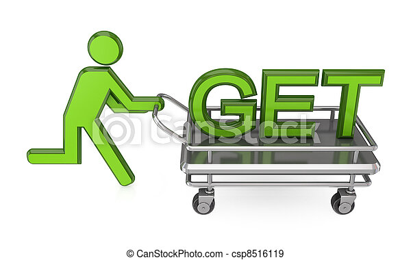 3d small person with a pushcart and big word GET. - csp8516119