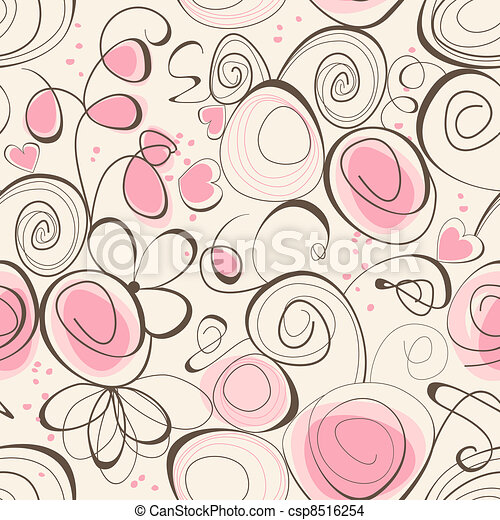 Calligraphic romantic seamless pattern - csp8516254