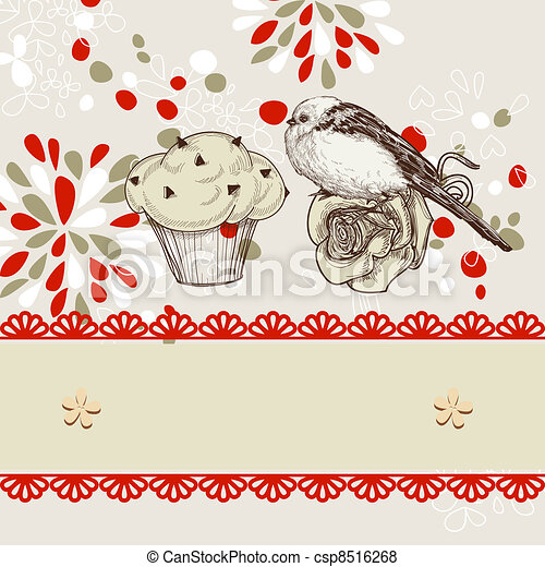 Bird and chocolate chips cupcake background for kids - csp8516268
