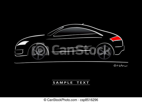 silhouette of black sport car - csp8516296