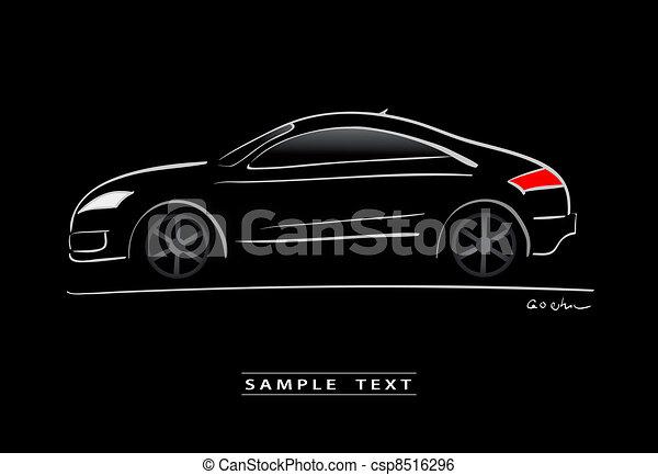 silhouette of black sport car - csp8516296