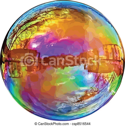 Reflecting soap bubble. - csp8516544