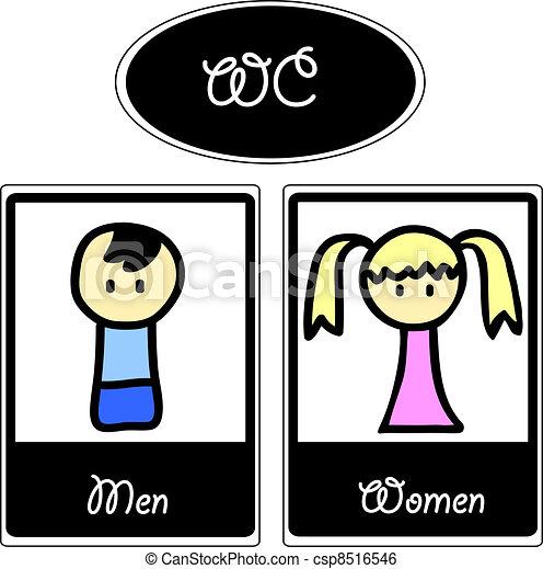 Cartoon toilet symbols - csp8516546