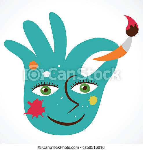 icon of crafty colorful hand - csp8516818