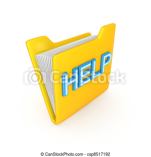 Yellow PC folder with a blue inscription HELP. - csp8517192