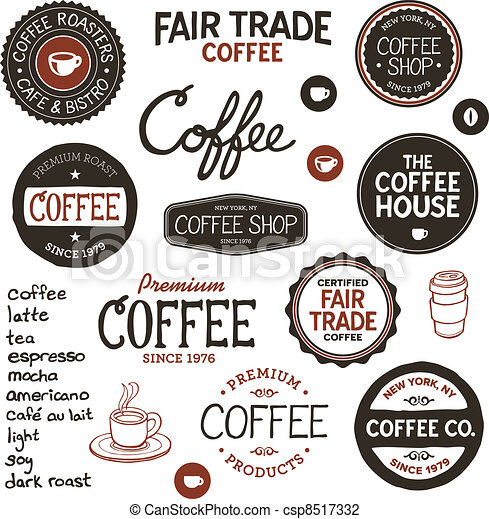 Vintage coffee labels and lettering - csp8517332
