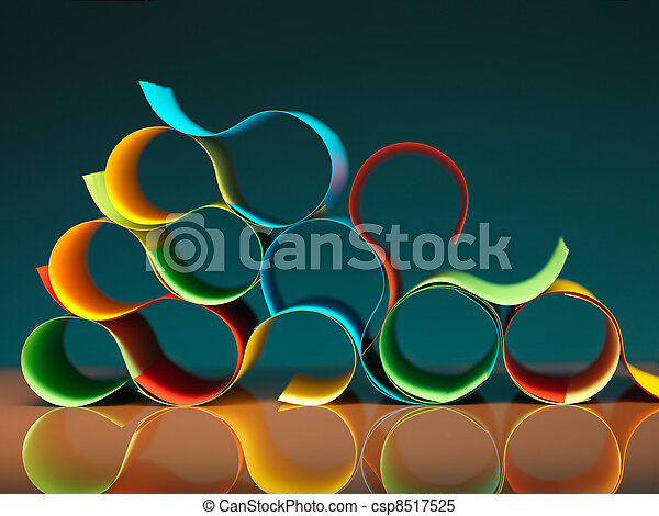 curved, colorful sheets of paper with reflexions - csp8517525