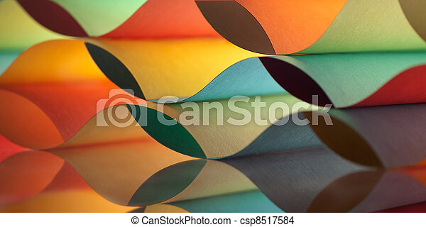 curved, colorful sheets paper with mirror reflexions - csp8517584