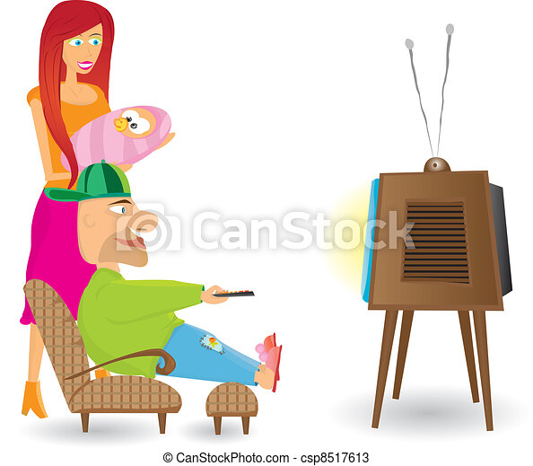 Family Watching tv Together Drawing Family Watching tv