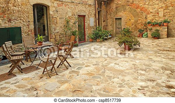 Banque de Photographies de pavé, rustique, terrasse, Toscane, Italie ...