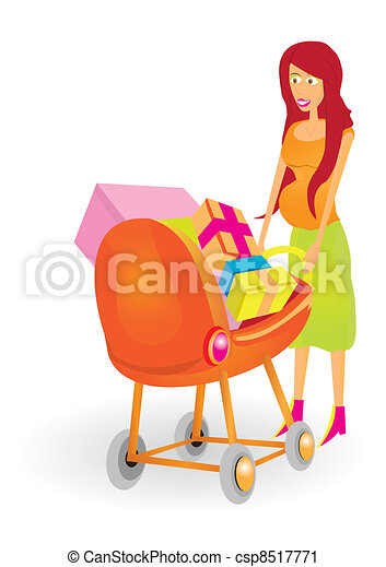 Attractive pregnant woman with a bu - csp8517771