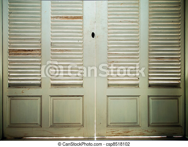 inside white old wood door close - csp8518102
