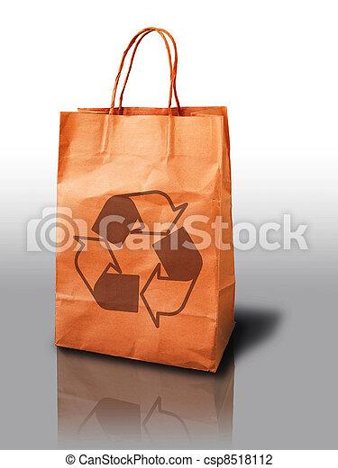 orange recycle paper shopping bag