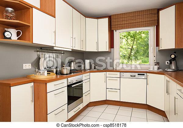 Stock de fotos moderno cocina vista jard n imagenes for Cocinas con vista al jardin