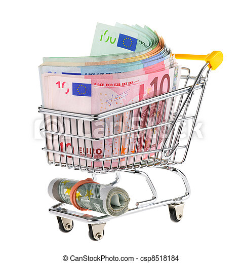 Shopping cart filled with cash - csp8518184