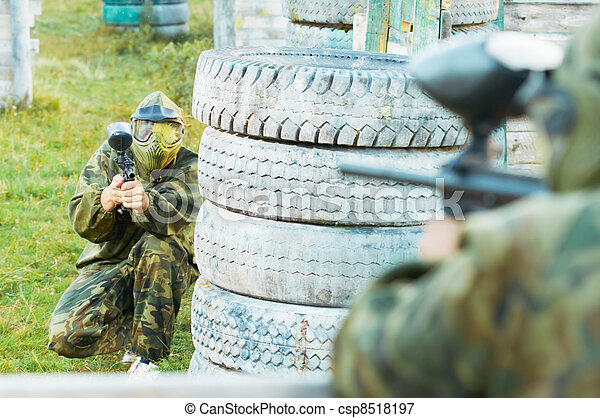 two paintball players - csp8518197