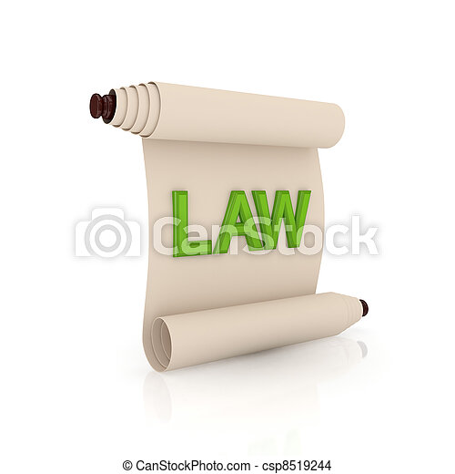 Ancient scroll with a green word LAW. - csp8519244