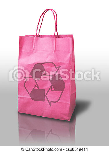 pink recycle shopping paper bag